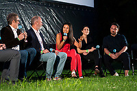 """Staten Island, NY - AUGUST 17: Moderator Dan Nuxoll, Paul Simms, Sam Johnson, Sarah Naftalis, Marika Sawyer and William Meny attend the premiere event for FX's """"What We Do in the Shadows"""" at Snug Harbor on August 17, 2021 in Staten Island, New York. (Photo by Ben Hider/FX/PictureGroup)"""