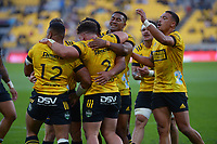 The Hurricanes celebrate Ricky Riccitelli's try during the Super Rugby Aotearoa match between the Hurricanes and Chiefs at Sky Stadium in Wellington, New Zealand on Saturday, 20 March 2020. Photo: Dave Lintott / lintottphoto.co.nz
