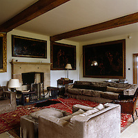 The living room at Bowling Green combines contemporary furniture with family antiques