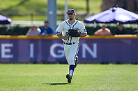 High Point Panthers right fielder Austen Zente (5) catches a fly ball during the game against the NJIT Highlanders at Williard Stadium on February 19, 2017 in High Point, North Carolina. The Panthers defeated the Highlanders 6-5. (Brian Westerholt/Four Seam Images)