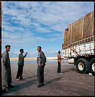 Benghazi, Libya, November 2004..Every week, 40 trucks are loaded with 25 metric tons each of foreign food aid donated to WFP by various donors, mainly the U.S.A. and E.E.C. countries. These trucks will then cross more than 2500 km of desert across Libya and Chad to reach refugee camps near the Sudanese border. More than 200 000 refugees from Darfur have crossed the Chadian border in search for safety from persistant Janjaweed militia attacks..The drivers with loaded trucks on the quay just before departure.