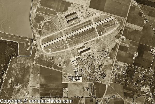 historical aerial photograph Moffett Field, Mountain View, California 1948