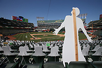 OAKLAND, CA - JULY 26:  General overall wide angle interior view showing empty seats and fake cardboard cutout fans during the game between the Los Angeles Angels and Oakland Athletics at the Oakland Coliseum on Sunday, July 26, 2020 in Oakland, California. The 2020 season had been postponed since March due to the COVID-19 pandemic. (Photo by Brad Mangin)