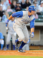 April 10, 2009: Infielder Clint Robinson (43) of the Wilmington Blue Rocks, Class A affiliate of the Kansas City Royals, in a game against the Myrtle Beach Pelicans at BB&T Coastal Field in Myrtle Beach, S.C. Photo by:  Tom Priddy/Four Seam Images