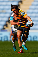 25th April 2021; Ricoh Arena, Coventry, West Midlands, England; English Premiership Rugby, Wasps versus Bath Rugby; Jacob Umaga of Wasps breaks on the ball