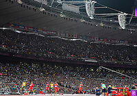 August 05, 2012: Usain Bolt of JAM wins men's 100m dash by setting a new Olympic record at the Olympic Stadium on day nine of 2012 Olympic Games in London, United Kingdom.