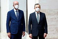 The Italian premier Mario Draghi and the President of the European Council Charles Michel during the meeting at Palazzo Chigi.<br /> Rome (Italy), September 6th 2021<br /> Photo Samantha Zucchi Insidefoto