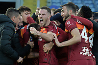 Lorenzo Pellegrini of Roma celebrates with team mate Veretout and Fonseca after scoring  the 4-3 goal  during the Serie A football match between AS Roma and AC Spezia at Olimpico stadium in Roma (Italy), Jannuary 23th, 2021. Photo Antonietta Baldassarre / Insidefoto