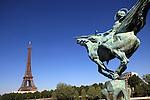 The statue of the France renaissante (France Reborn) with Eiffel Tower la tour eiffel in the background. City of Paris. Paris. France