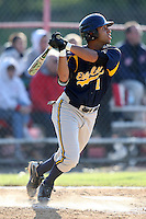 """May 10,2010:  Shortstop Chris """"Cito"""" Culver (1) of the Irondequoit Eagles hits a triple to left in a game vs. the Canandaigua Braves during a Monroe County regular season game at Evans Field in Canandaigua, NY.  The game was called with a 19-19 score after 7 innings because of darkness.  Photo by Mike Janes/Four Seam Images"""