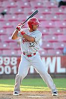 Spokane Indians outfielder Zach Cone #32 bats against the Salem-Keizer Valcanoes at Valcanoes Stadium on August 10, 2011 in Salem-Keizer,Oregon. Salem-Keizer defeated Spokane 7-6.(Larry Goren/Four Seam Images)