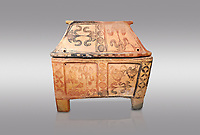 Minoan  pottery gabled larnax coffin chest with bird and papyrus decorations,   1300-1200 BC, Heraklion Archaeological  Museum, grey background.