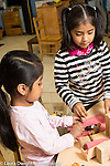 Education preschool 3-4 year olds two girls playing together with small dolls and furniture
