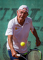 Hilversum, The Netherlands,  August 21, 2020,  Tulip Tennis Center, NKS, National Senior Tennis Championships, Men's single 75+,  Niels Menko (NED)<br /> Photo: Tennisimages/Henk Koster
