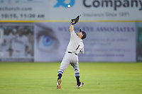 Princeton Rays second baseman Jake Palomaki (1) catches a pop fly in shallow center field during the game against the Pulaski Yankees at Calfee Park on July 14, 2018 in Pulaski, Virginia. The Rays defeated the Yankees 13-1.  (Brian Westerholt/Four Seam Images)