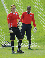 Freedom Goalkeepers Erin McLeod and Briana Scurry at the Washington Freedom practice session, Thursday April 8, 2010