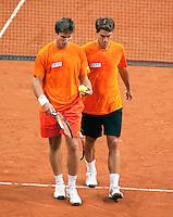 16-9-09, Netherlands,  Maastricht, Tennis, Daviscup Netherlands-France, Training, Igor Sijsling en Jesse Huta Galung(r) in de dubbel