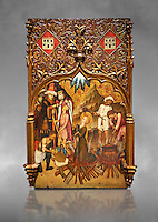 Gothic altarpiece tableau of the Archangel Gabriel  by Joan Mates of Vlafranca de Penedes, circa 1410-1430, tempera and gold leaf on for wood from the church of Santa Maria de Penafel, Alt Penedes, Spain.  National Museum of Catalan Art, Barcelona, Spain, inv no: MNAC  214533. Against a grey art background.