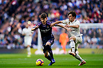 Laureano Antonio Villa Suarez, Toni, of Real Valladolid (L) vies for the ball with Alvaro Odriozola Arzallus of Real Madrid during the La Liga 2018-19 match between Real Madrid and Real Valladolid at Estadio Santiago Bernabeu on November 03 2018 in Madrid, Spain. Photo by Diego Souto / Power Sport Images