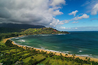 An aerial view of Hanalei Beach and Bay, Kaua'i.