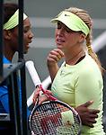 Serena Williams and Sabine Lisicki at the Family Circle Cup in Charleston, South Carolina on April 6, 2012