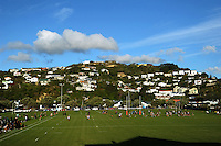 A general view of the Polo Ground during the Wellington Club Rugby Swindale Shield match between Oriental-Rongotai and Wainuiomata at the Polo Ground, Wellington, New Zealand on Saturday, 25 April 2012. Photo: Dave Lintott / lintottphoto.co.nz