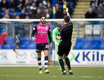 St Johnstone v Dundee…11.03.17     SPFL    McDiarmid Park<br />Faissal el Bakhtaoui is booked for diving<br />Picture by Graeme Hart.<br />Copyright Perthshire Picture Agency<br />Tel: 01738 623350  Mobile: 07990 594431