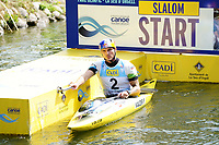 04th September 2021; Parc Olimpic del Segre, La Seu D'Urgell ICF Slalom World Cup, men's Kayak Final; 3rdPlace finish for Peter Kauzer (SLO)