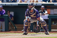TCU Horned Frogs catcher Evan Skoug (9) waits for a throw at the plate against the Texas Tech Red Raiders in Game 3 of the NCAA College World Series on June 19, 2016 at TD Ameritrade Park in Omaha, Nebraska. TCU defeated Texas Tech 5-3. (Andrew Woolley/Four Seam Images)
