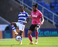 5th April 2021; Madejski Stadium, Reading, Berkshire, England; English Football League Championship Football, Reading versus Derby County; Colin Kazim-Richards of Derby County prepares to tackle Omar Richards of Reading