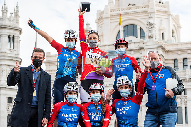 Lisa Brennauer (GER) CERATIZIT-WNT Pro Cycling Team wins the overall general classification at the end of Stage 3 of the CERATIZIT Challenge by La Vuelta 2020, running 98.6km around the streets of Madrid, Spain. 8th November 2020.<br /> Picture: Antonio Baixauli López/BaixauliStudio | Cyclefile<br /> <br /> All photos usage must carry mandatory copyright credit (© Cyclefile | Antonio Baixauli López/BaixauliStudio)