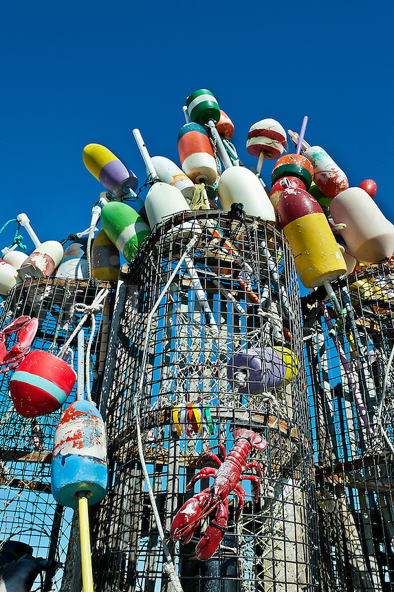 Decorative lobster trap and buoys, Provincetown, Cape Cod, USA