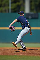 Starting pitcher Hagen Banks (32) of Calhoun HS in Plainville, GA playing for the Milwaukee Brewers scout team during the East Coast Pro Showcase at the Hoover Met Complex on August 5, 2020 in Hoover, AL. (Brian Westerholt/Four Seam Images)