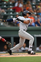 Left fielder Carlos Vidal (2) of the Charleston RiverDogs bats in a game against the Greenville Drive on Thursday, July 27, 2017, at Fluor Field at the West End in Greenville, South Carolina. Charleston won, 5-2. (Tom Priddy/Four Seam Images)