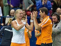 Moskou, Russia, Februari 4, 2016,  Fed Cup Russia-Netherlands, Kiki Bertens (NED) takes the first mach and celebrates with captain Paul Haarhuis<br /> Photo: Tennisimages/Henk Koster