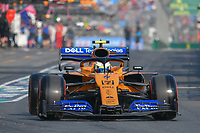 March 16, 2019: Lando Norris (GBR) #4 from the McLaren F1 team leaves the pit to start the qualification session at the 2019 Australian Formula One Grand Prix at Albert Park, Melbourne, Australia. Photo Sydney Low
