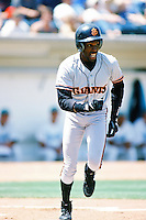 Bobby Bonds, jr of the San Jose Giants runs to first base during a 1996 baseball season game against the Rancho Cucamonga Quakes at The Epicenter in Rancho Cucamonga, California. (Larry Goren/Four Seam Images)