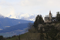 2021 Cycling Tour of the Alps Stage 1 Bressanone, Innsbruck, Italy, Austria Apr 19th; The Alps with a church in foreground