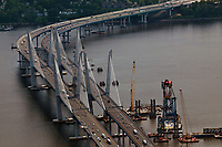 aerial photograph of the construction of the replacement of the Tappan Zee Birdge, crossing the Hudson River and connecting Nyack and Tarrytown, New York