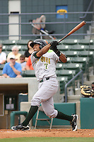 Jose Gualdron #7 of the Lynchburg Hillcats at bat during a game against the Myrtle Beach Pelicans at BB&T Coastal Field on May 26, 2010 in Myrtle Beach. Photo by Robert Gurganus/Four Seam Images.