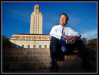 Newly-elected president of the University of Texas at Austin, William Powers, Jr., Esq., is photographed on the steps of the tower in Austin on Monday afternoon.  Powers, who will take office next February, is also a professor in the UT School of Law. (Brian Ray for The Daily Texan)