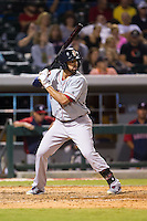 Deven Marrero (29) of the Pawtucket Red Sox at bat against the Charlotte Knights at BB&T Ballpark on August 9, 2014 in Charlotte, North Carolina.  The Red Sox defeated the Knights  5-2.  (Brian Westerholt/Four Seam Images)