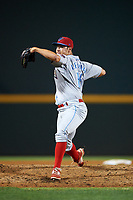 Clearwater Threshers relief pitcher Luke Leftwich (16) delivers a pitch during a game against the Bradenton Marauders on April 18, 2017 at LECOM Park in Bradenton, Florida.  Clearwater defeated Bradenton 4-2.  (Mike Janes/Four Seam Images)