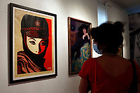The screen printing titled 'Mujer Fatale' at the Exhibition '3 Decades of Dissent' of the urban artist Shepard Fairey at the modern art gallery of Rome.<br /> Rome (Italy), September 17th 2020<br /> Photo Samantha Zucchi Insidefoto