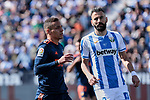 CD Leganes's Dimitrios Siovas and Valencia CF' Rodrigo Moreno during La Liga match, Round 25 between CD Leganes and Valencia CF at Butarque Stadium in Leganes, Spain. February 24, 2019. (ALTERPHOTOS/A. Perez Meca)