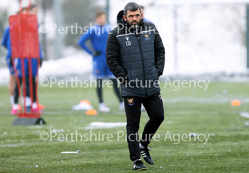 St Johnstone Training...   21.01.21<br />Manager Callum Davidson pictured during training at McDiarmid Park ahead of Saturday's BetFred Cup semi-final against Hibs at Hampden.<br />Picture by Graeme Hart.<br />Copyright Perthshire Picture Agency<br />Tel: 01738 623350  Mobile: 07990 594431