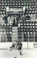 1987 FILE PHOTO - ARCHIVES -<br /> <br /> Interested spectators: Members of the NHL Selects watch the Soviet national team workout yesterday at the Colisee in Quebec city. The two teams open their two-game tonight.<br /> <br /> PHOTO :  Jeff Goode - Toronto Star Archives - AQP