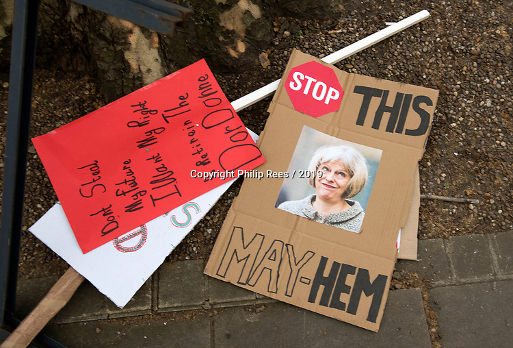 """Discarded placards at the end of the """"Put it to the People"""" rally which made it's way through central London today. Demonstrators from across the country gathered to call for a second referendum on Brexit and to march through the UK capital finishing with speeches in Parliament Square opposite the Houses of Parliament in Westminster."""