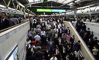 TRANSPORT : TRAIN : TOKYO : JAPAN<br /> Japan: June 21, 2001 Tokyo<br /> Morning rush hour at Tokyo station 8:20 AM.<br /> Photo by Kaku Kurita/sinopix<br /> ©sinopix