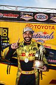 J.R. Todd, DHL, Toyota, Camry, Funny Car, winner, celebration, trophy